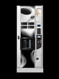 Geneva hot coffee vending machine with optional platinum silver door styling and kick panel.